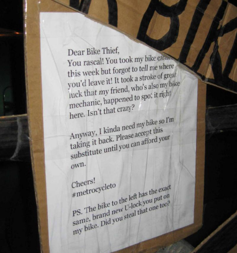 Carta de Quentin Matheson - Robo de bicicletas
