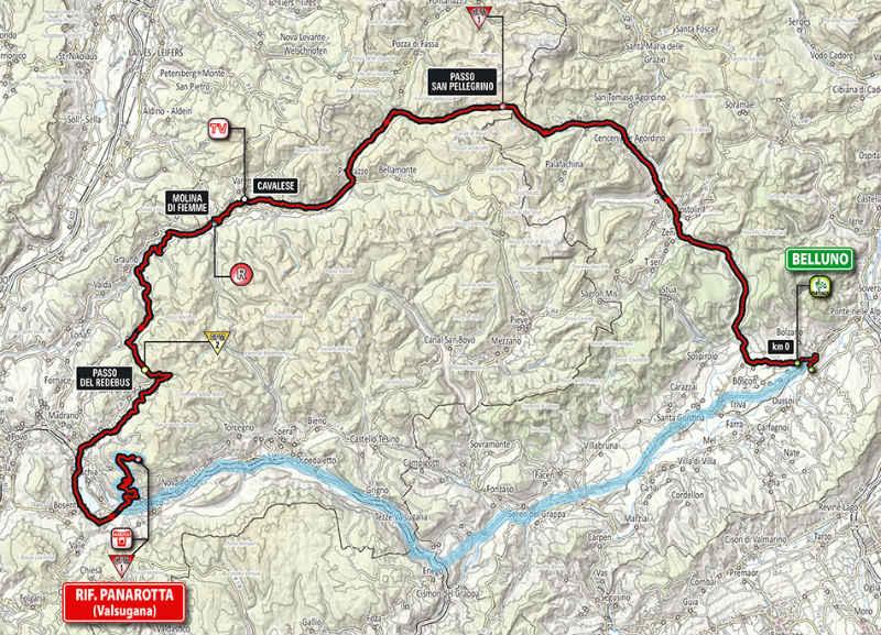 Mapa como es la etapa 18 del Giro de Italia 2014