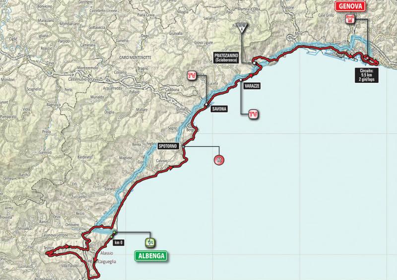 Mapa como es la etapa 2 del Giro de Italia 2015