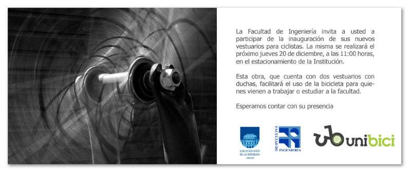 Facultad de Ingenieria - Duchas en Universidad para pomover bicicletas en Uruguay