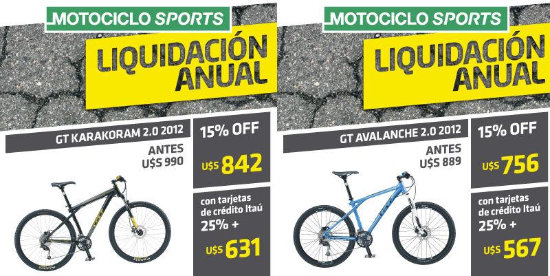 Promocion Bicicletas GT en Uruguay - Motociclo Sports - Ofertas