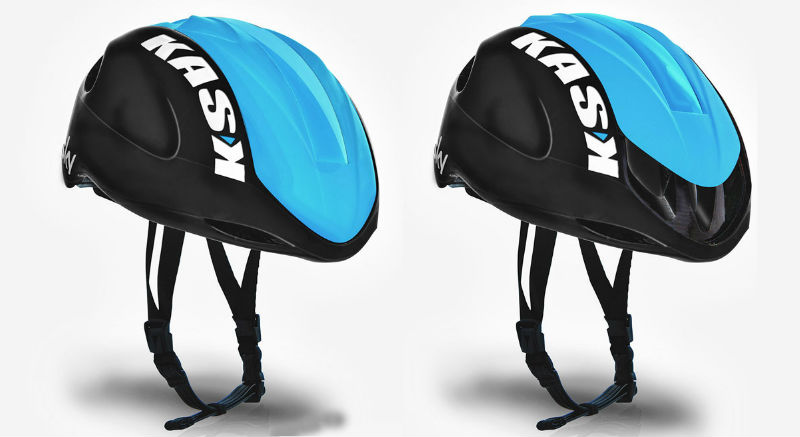 Kask Infinity Aero Helmet - Casco para bicicletas Innovador Team Sky - Abierto y Cerrado