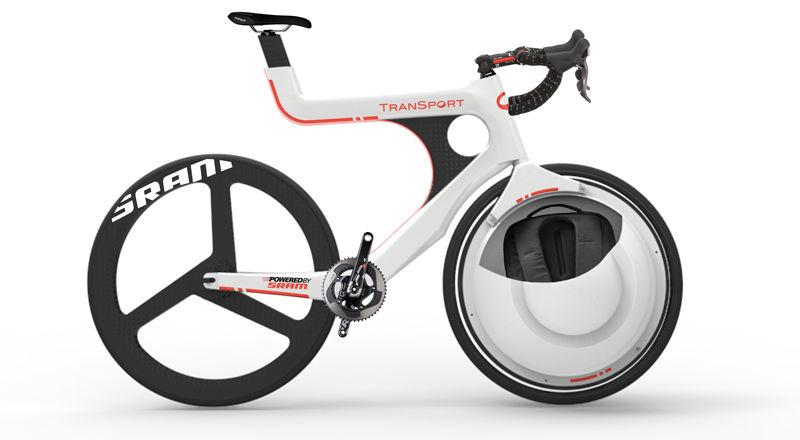 Transport es una bicicleta con portaobjetos en su rueda delantera