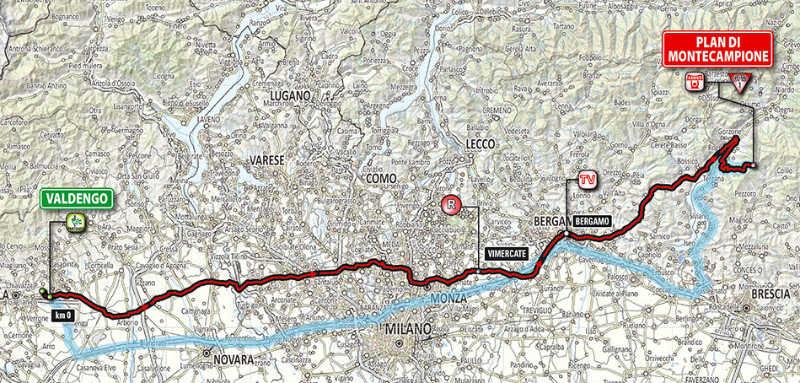 Mapa como es la etapa 15 del Giro de Italia 2014