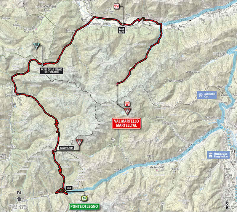 Mapa como es la etapa 16 del Giro de Italia 2014
