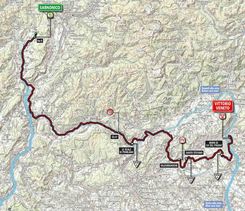 Mapa como es la etapa 17 del Giro de Italia 2014
