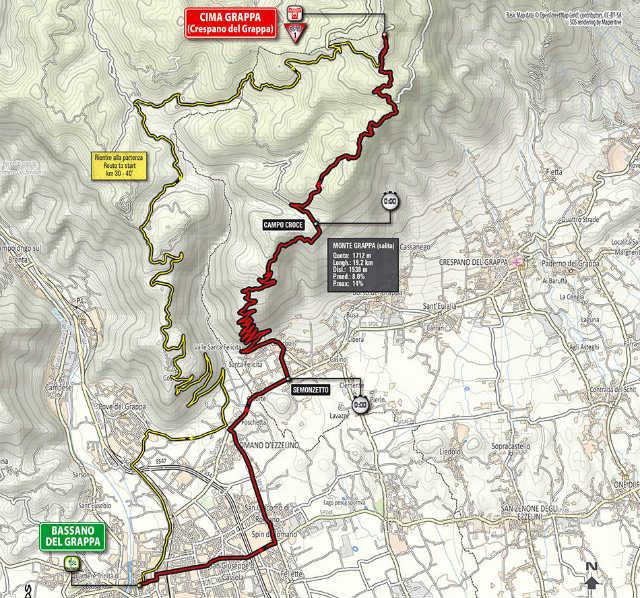 Mapa como es la etapa 19 del Giro de Italia 2014