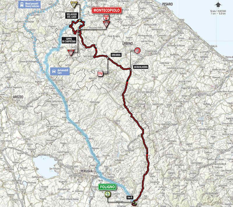 Mapa de la octava etapa del Giro de Italia 2014