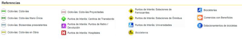 referencia del mapa de ciclovias en Buenos Aires
