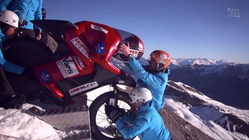Eric Barone logro record mundial de velocidad en bicicletas mtb sobre nieve