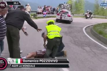 Impactante caida de domenico Pozzovivo en el Giro de Italia 2015